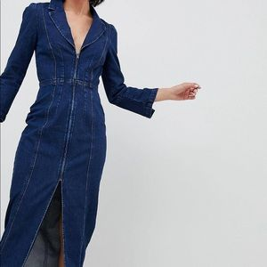 🌿 ASOS Retro Denim Blazer Maxi Dress